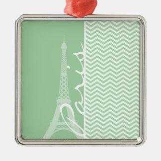 Paris; Celadon Chevron Silver-Colored Square Decoration
