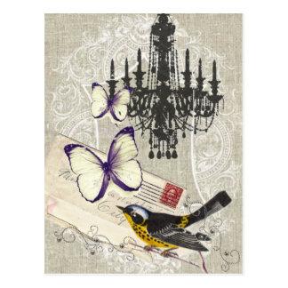 Paris chandelier butterfly bird modern vintage postcard