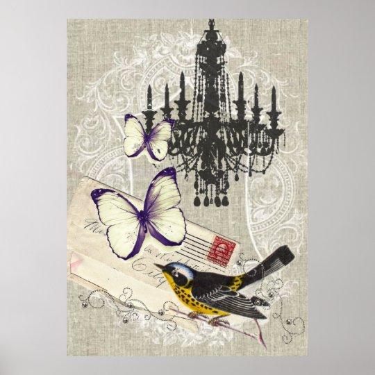 Paris chandelier butterfly bird modern vintage poster