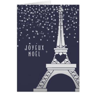 Paris Christmas Eiffel Tower with Snow at Night Card