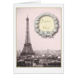 Paris Christmas Joyeux Noel Eiffel tower Card