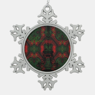Paris Christmas Pattern Design Snowflake Pewter Christmas Ornament