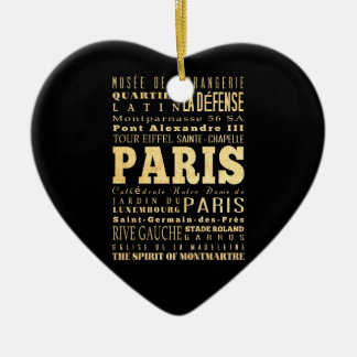 Paris City of France Typography Art Christmas Ornament