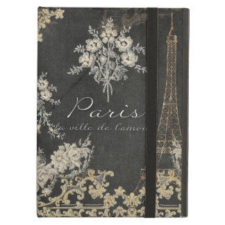 Paris City of Love Eiffel Tower Chalkboard Floral Cover For iPad Air