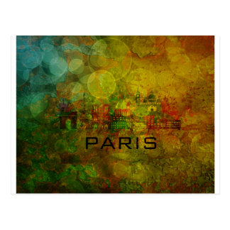 Paris City Skyline on Grunge Background Postcard