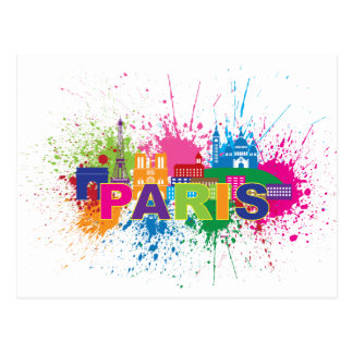 Paris City Skyline Paint Splatter Illustration Postcard