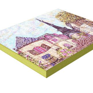 Paris Cityscape pointillsim canvas Kristie Hubler Gallery Wrap Canvas