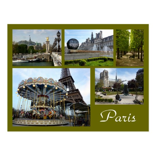 Paris Collage (Carousel, Eiffel Tower, Notre Dame) Postcard