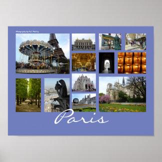 Paris Collage (Landscape) Poster