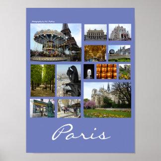 Paris Collage (Portrait) Poster