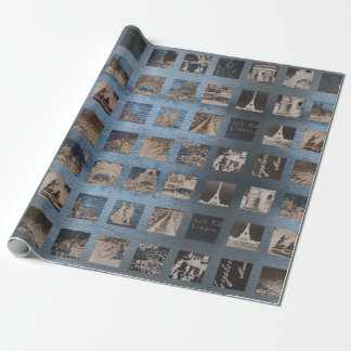 Paris Collage Wrap Blue Gray Vintage Wrapping Paper