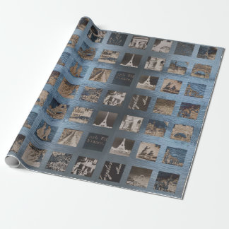 Paris Collage Wrap Blue Kraft Gray Vintage Wrapping Paper