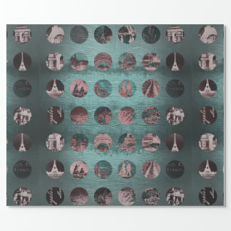 Paris Collage Wrap Mint Deep Green Vintage Wrapping Paper