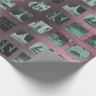 Paris Collage Wrap Pink Rose Gray Vintage Wrapping Paper