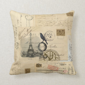 Paris Crow Globe French Postcard Pillow