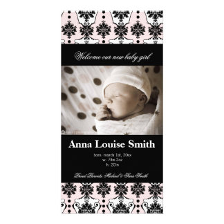 Paris Damask Birth Announcement Cards Photo Cards