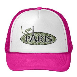 Paris; Dark Moss Green Damask Cap