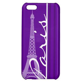 Paris; Dark Violet Vertical Stripes iPhone 5C Covers