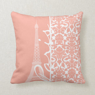 Paris; Deep Peach Damask Cushion