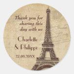 Paris Destination Wedding Round Sticker
