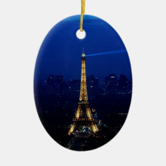 Paris Eifel Tower At Night Ceramic Oval Decoration