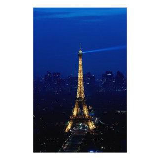 Paris Eifel Tower At Night Customized Stationery