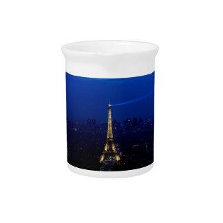 Paris Eifel Tower At Night Pitcher