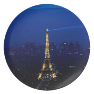 Paris Eifel Tower At Night Plate