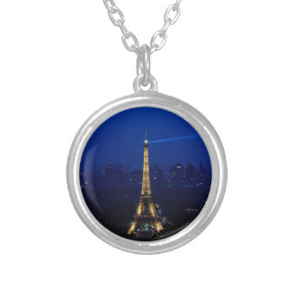 Paris Eifel Tower At Night Silver Plated Necklace