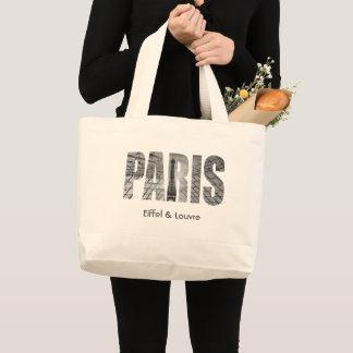 Paris - Eiffel & Louvre Large Tote Bag