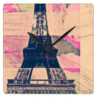 Paris Eiffel Square Wall Clock
