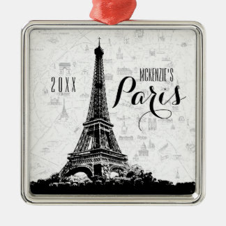Paris Eiffel Tower Add Your Name Christmas Ornament