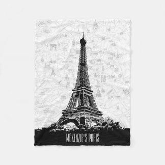 Paris Eiffel Tower Add Your Name Fleece Blanket