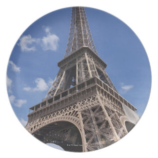 Paris Eiffel Tower against blue summer sky Plate