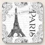 Paris Eiffel Tower and Scrolls Beverage Coaster