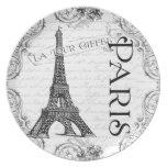 Paris Eiffel Tower and Scrolls Dinner Plates