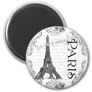 Paris Eiffel Tower and Scrolls Magnet