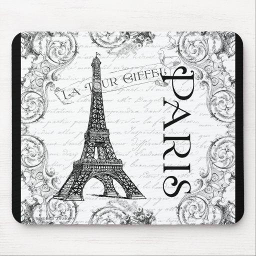 Paris Eiffel Tower and Scrolls Mousepads