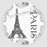 Paris Eiffel Tower and Scrolls Classic Round Sticker