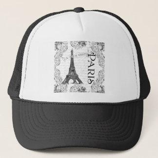Paris Eiffel Tower and Scrolls Trucker Hat