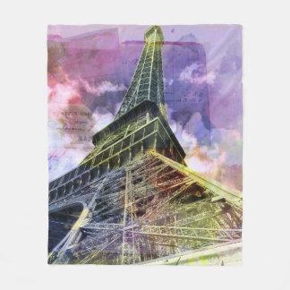 Paris Eiffel Tower Art Bedding Fleece Blanket