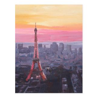 Paris Eiffel Tower at Dusk Postcard