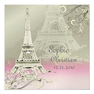 "Paris+Eiffel Tower at Sunset Wedding Invitations 5.25"" Square Invitation Card"