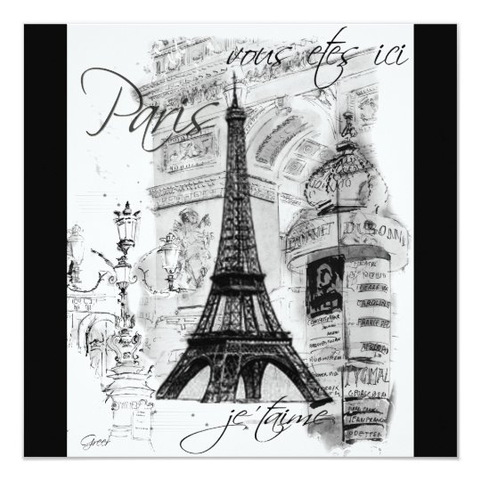 Paris Eiffel Tower Black & White Collage 13 Cm X 13 Cm Square Invitation Card