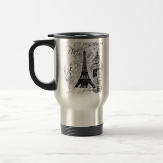 Paris Eiffel Tower Black & White Collage French Travel Mug