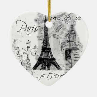 Paris Eiffel Tower Black & White Scene Ceramic Heart Decoration
