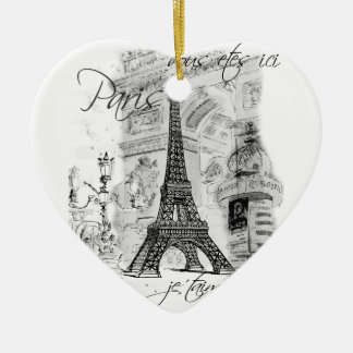 Paris Eiffel Tower Black & White Scene Christmas Ornament