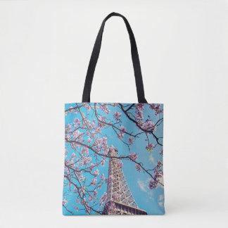 Paris Eiffel Tower Blooms in Springtime Tote Bag