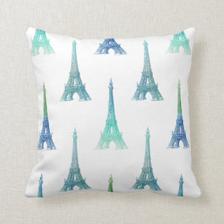 Paris Eiffel Tower Blue Green Throw Pillow