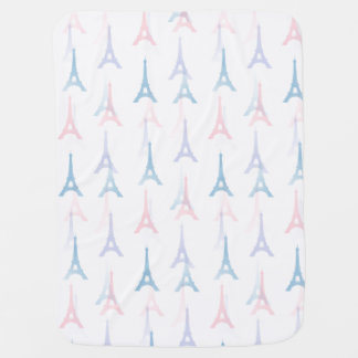 Paris Eiffel Tower Blue Pastel Baby Blanket